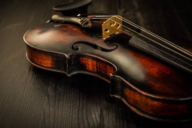 Close view of old violin and strings in vintage style