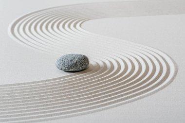 Japanese ZEN garden with stone in sand stock vector