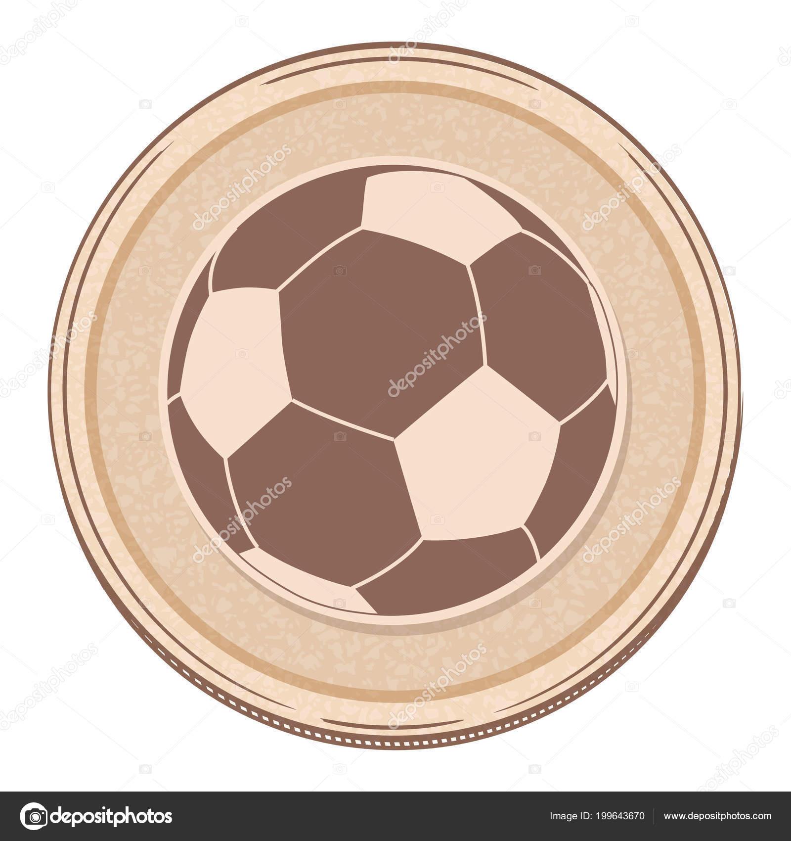 Hand Drawing Style Soccer Football Brown Circular Border Vektornoe