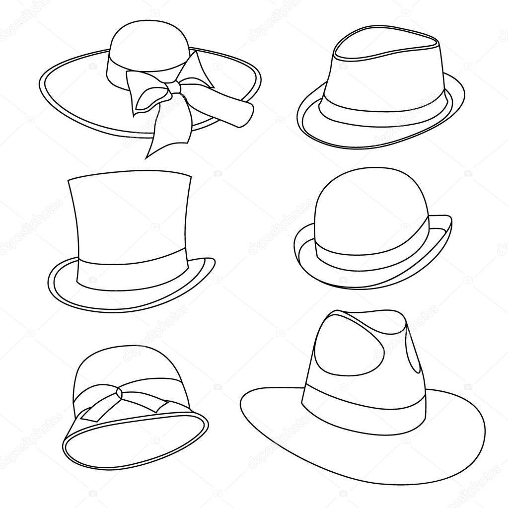 Conjunto Hombre Mujer Sombreros Viejos Modelos Aislado Blanco — Vector de  stock © frescomovie  206201088 6b7668a8197