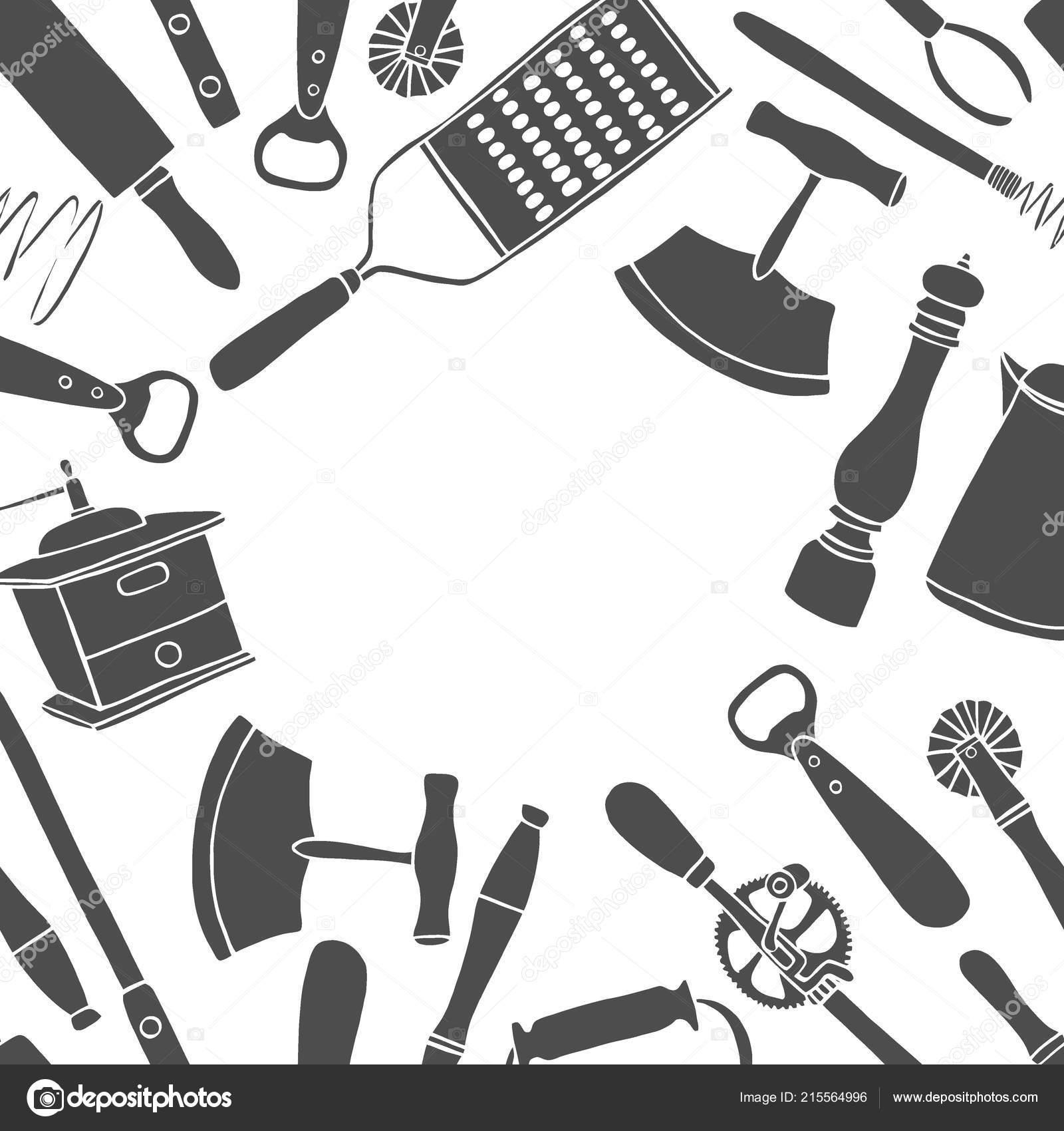 Background Kitchen Utensils Set Vector Large Collection Hand Drawn