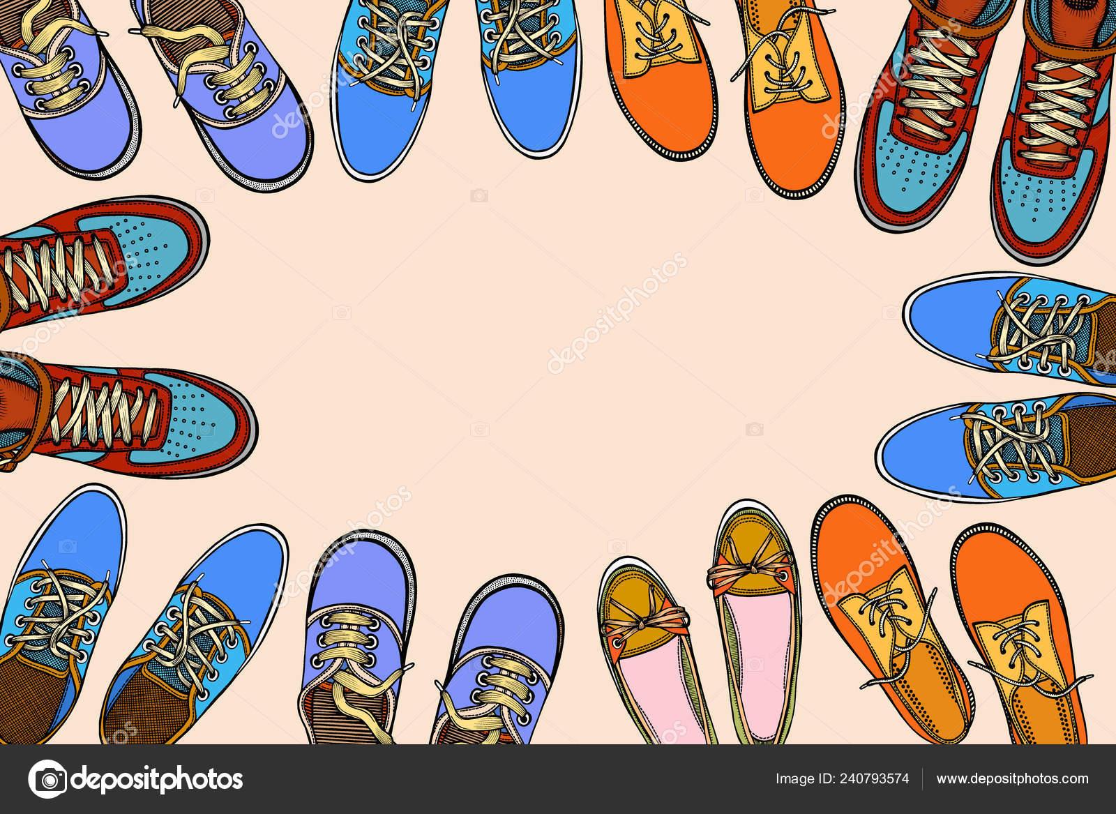 Zapatos Con Deportivos Círculo Para Espacio Muchos Fila Libre Fondo cF1J3TKl