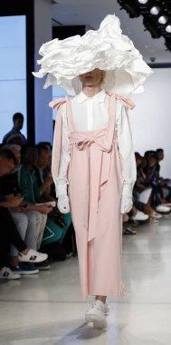 New York, NY, USA - July 9, 2018: A model walks runway for Alessandro Trincone Spring/Summer 2019 runway show during NY Fashion week: Mens at Cadillac House, Manhattan