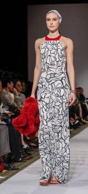 New York, NY, USA - September 10, 2018: A model walks runway for Dennis Basso Spring/Summer 2019 runway show during New York Fashion Week at Cipriani 42nd Street, Manhattan
