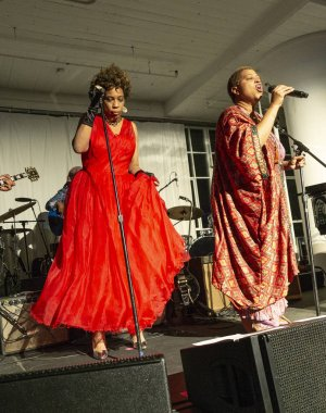 New York, NY - October 13, 2018: Macy Gray and Lisa Fischer perform at Loft Party A Night for the Soul for Jazz Foundation of America at Hudson Studios