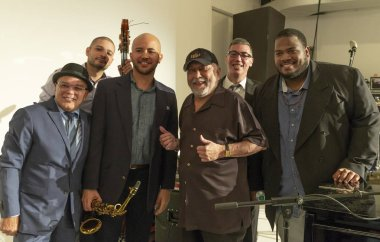 New York, NY - October 13, 2018: Eddie Palmieri Afro-Carribean Jazz Sextet performs at Loft Party A Night for the Soul for Jazz Foundation of America at Hudson Studios, Manhattan
