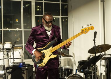 New York, NY - October 13, 2018: Jamaaladeen Tacuma performs with Pocket Science quartet at Loft Party A Night for the Soul for Jazz Foundation of America at Hudson Studios, Manhattan