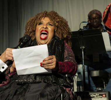 New York, NY - October 13, 2018: Roberta Flack speaks during tribute at Loft Party A Night for the Soul for Jazz Foundation of America at Hudson Studios, Manhattan