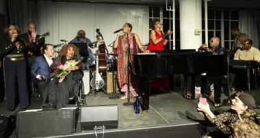 New York, NY - October 13, 2018: Musicians pay tribute to Roberta Flack at Loft Party A Night for the Soul for Jazz Foundation of America at Hudson Studios, Manhattan