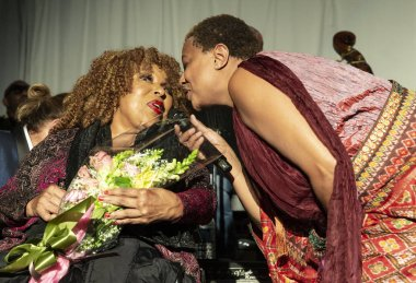 New York, NY - October 13, 2018: Roberta Flack and Lisa Fischer sing during tribute at Loft Party A Night for the Soul for Jazz Foundation of America at Hudson Studios, Manhattan