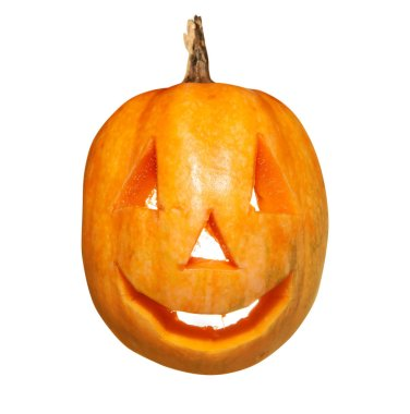 pumpkin in the form of happy monster isolated on white