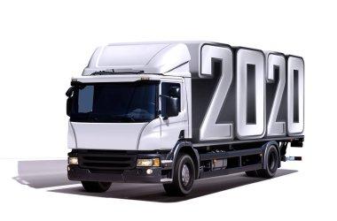 3d illustration of truck delivers 2020