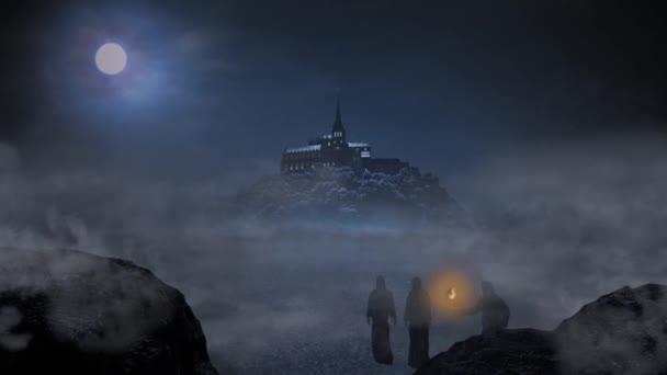 Három szerzetes lesz az éjszakai égbolt alatt a nagy Hold a Mont Saint Michel apátság. 3D Matt festés.
