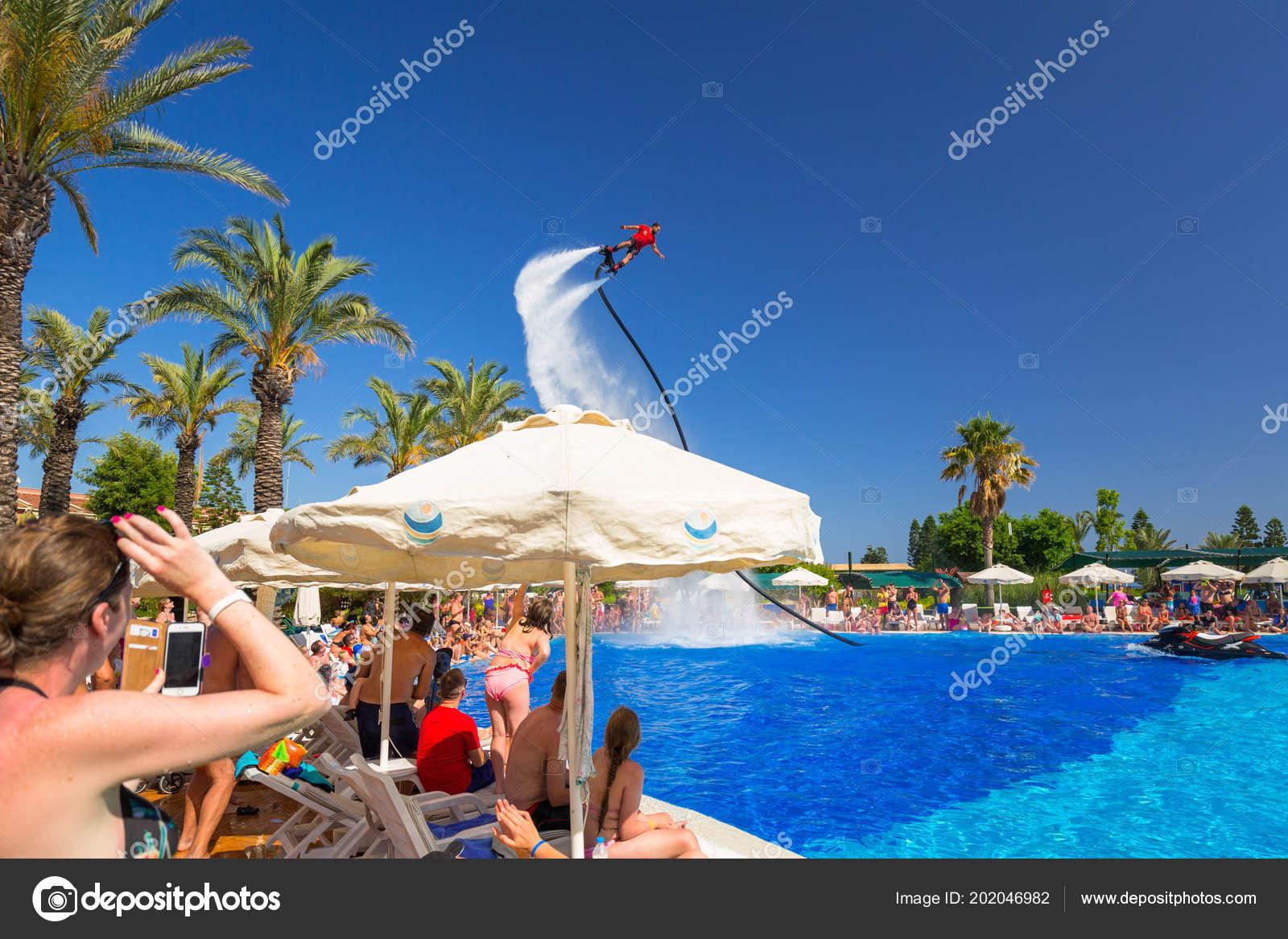 Lado Turquia Junho 2018 Show Flyboard Piscina Hotel Pegasos Mundial