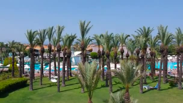 Side, Turkey - June 9, 2018: Aerial view of the tropical resort Pegasos World in Side, Turkey. Pegasos World Hotel is a 4-star resort with 9