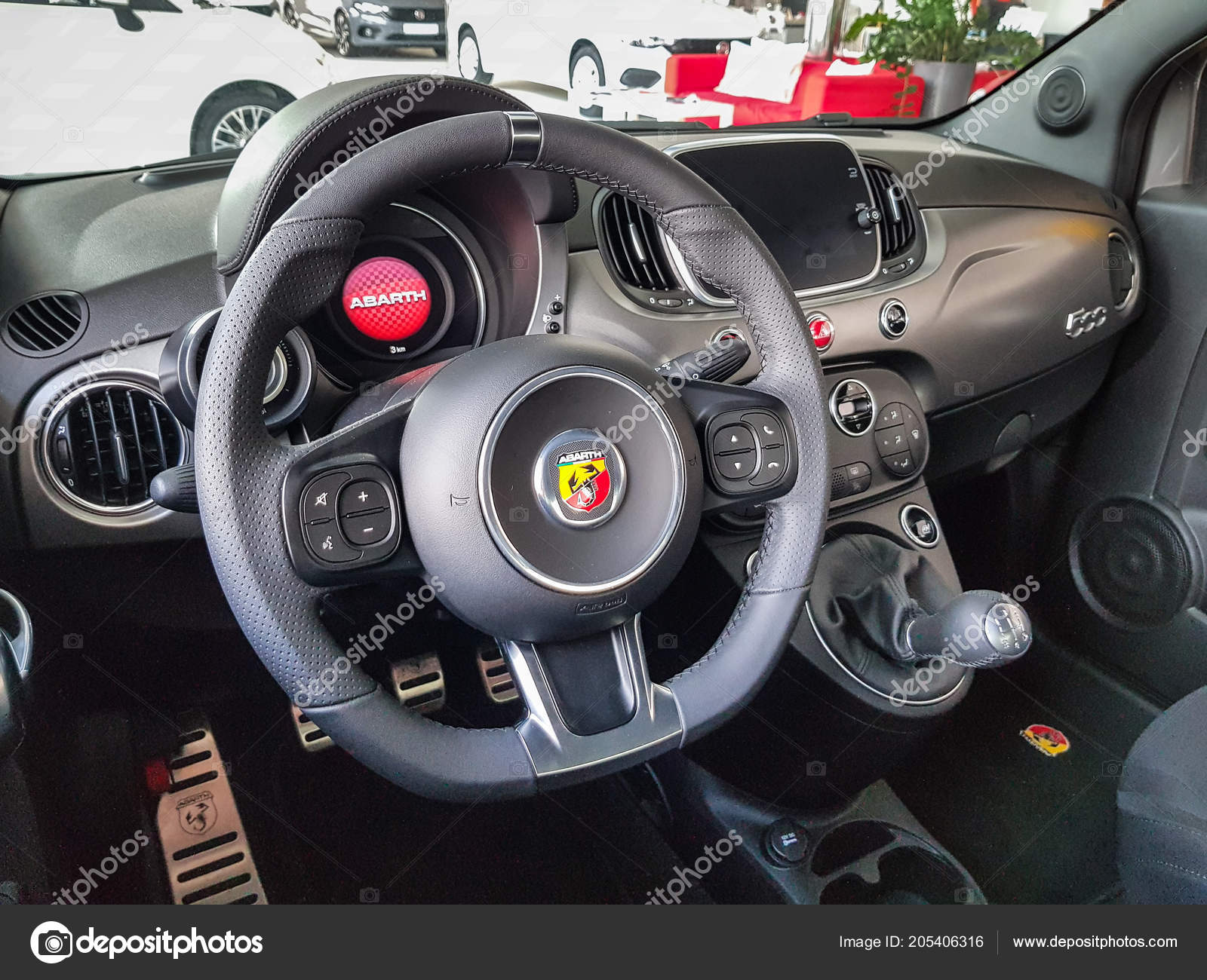 Gdansk Poland July 2018 Interior Fiat 500 Abarth Car Fiat – Stock ...
