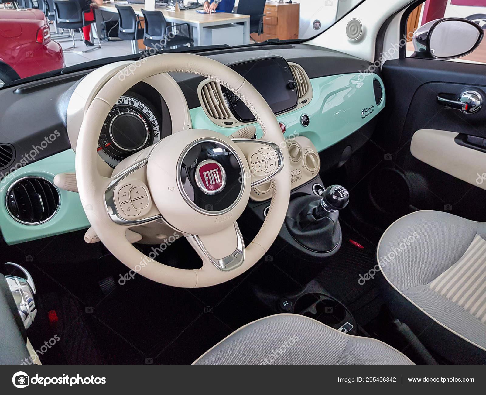Gdansk Poland July 2018 Interior Fiat 500 Car Fiat Showroom