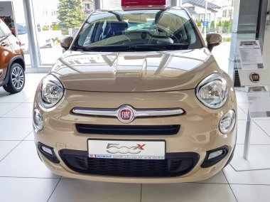 Gdansk, Poland - July 18, 2018: Fiat 500 X car in the Fiat showroom of Gdansk, Poland. Fiat 500 X is european crossover car manufactured in Italy.