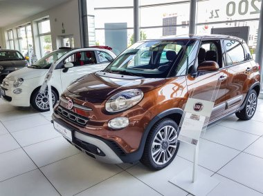 Gdansk, Poland - July 18, 2018: Interior of Fiat 500 L car in the Fiat showroom of Gdansk, Poland. Fiat 500 L is european van car manufactured in Italy.