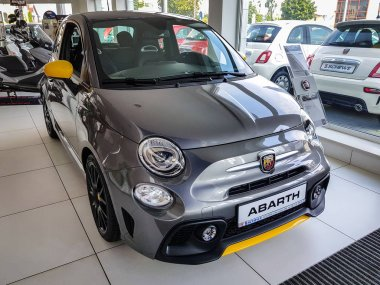 Gdansk, Poland - July 18, 2018: Fiat 500 Abarth car in the Fiat showroom of Gdansk, Poland. Fiat 500 is small european car manufactured in Italy.