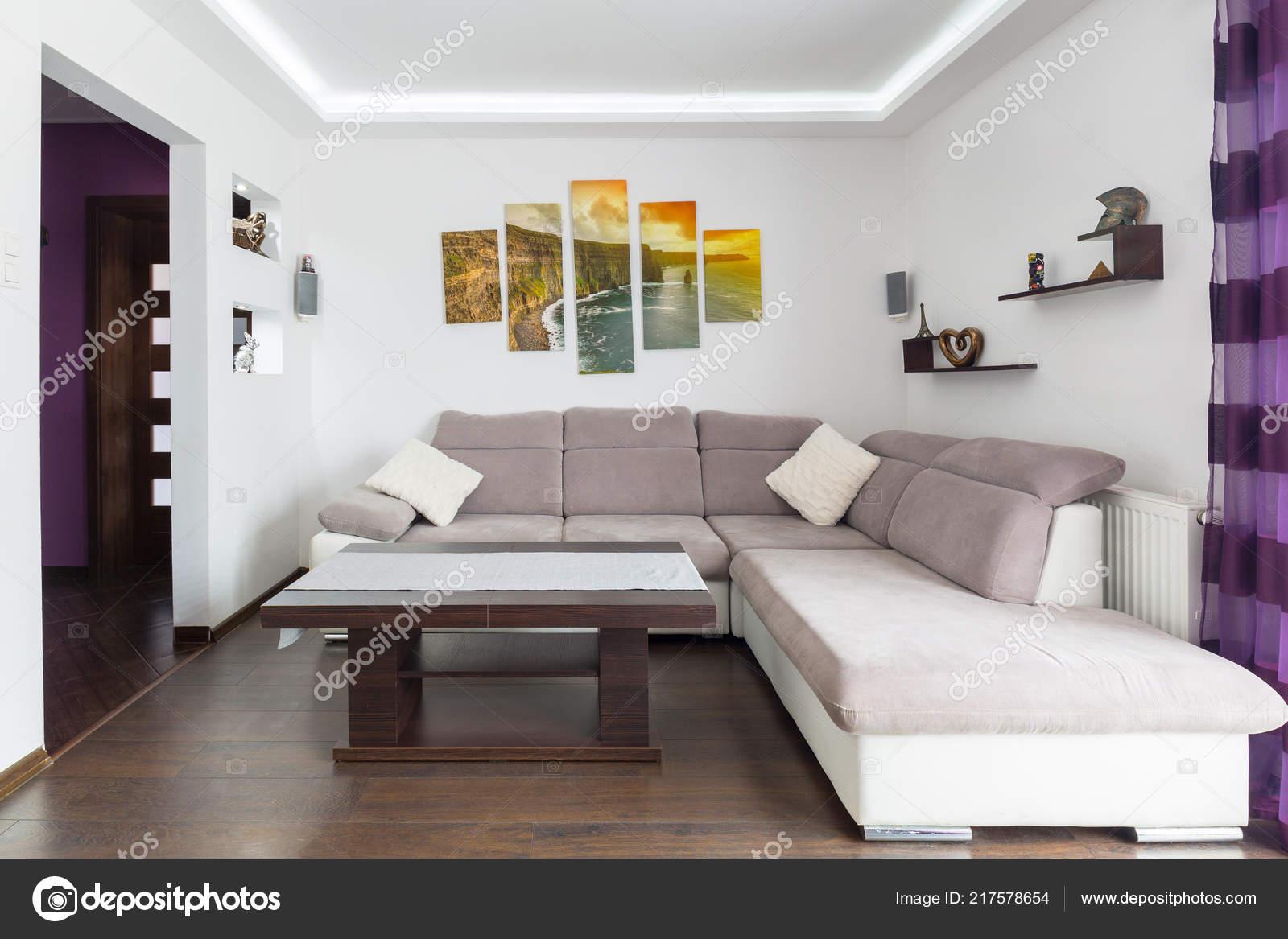 Moderne Wohnzimmer Interieur Mit Sofa Und — Stockfoto ...