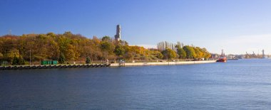Scenery of Vistula river at Westerplatte monument in Gdank, Poland