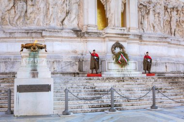 Rome, Italy - January 9, 2019: Soldiers at the National Monument in Rome at sunny day, Italy