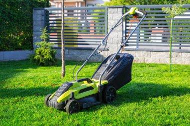 Lawn mower cutting green grass in backyard stock vector