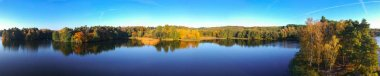 Aerial landscape of the lake in autumn, Poland
