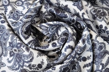 fabric with a pattern in blue and gray colors as a background