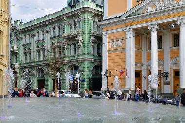 Moscow, Russia - April 30. 2018. Fountain on Birzevaya Square