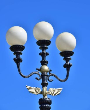 Street electric lantern against the sky in Moscow, Russia