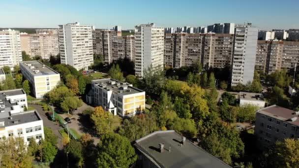 flight over the sleeping area Zelenograd in Moscow, Russia