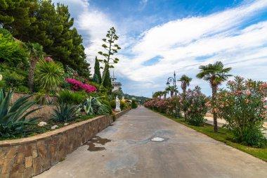 Beautiful embankment in the village of Partenit in Crimea