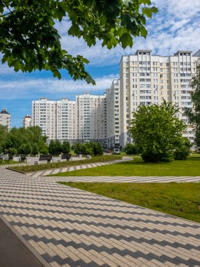 City landscape with a boulevard in Zelenograd district in Moscow, Russia