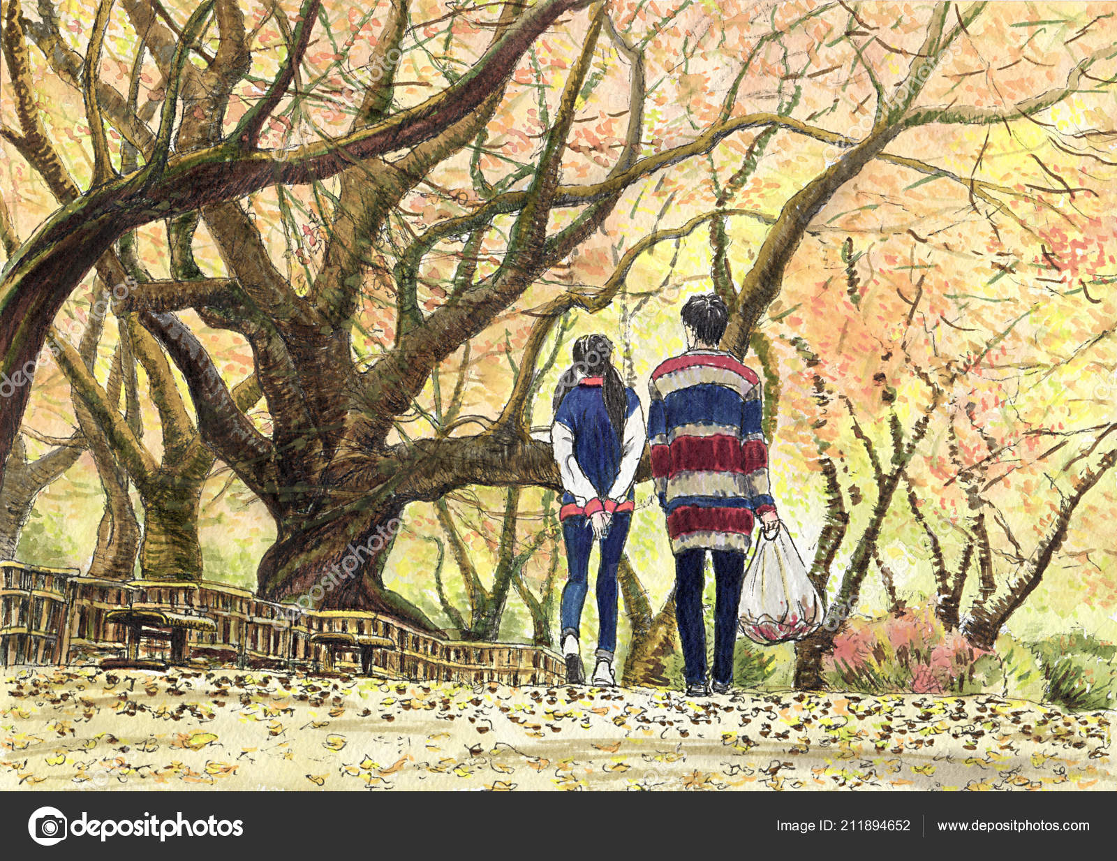 Painting Of A Couple Walking In The Park Couple Young