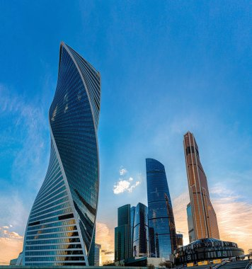 Moscow city skyscrapers in sunset