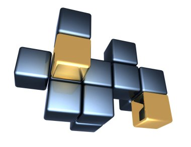 abstract background of cubes . 3d rendered illustration