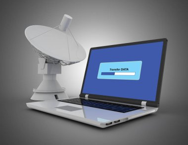 laptop and satellitedish. internet concept. 3d illustration