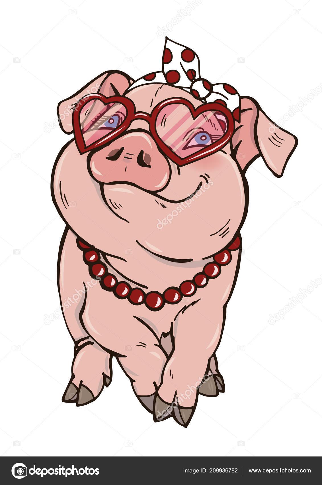Los Granos Sol Ilustración Chica Fashionista Piggy Cerdo Gafas WD9He2IYE