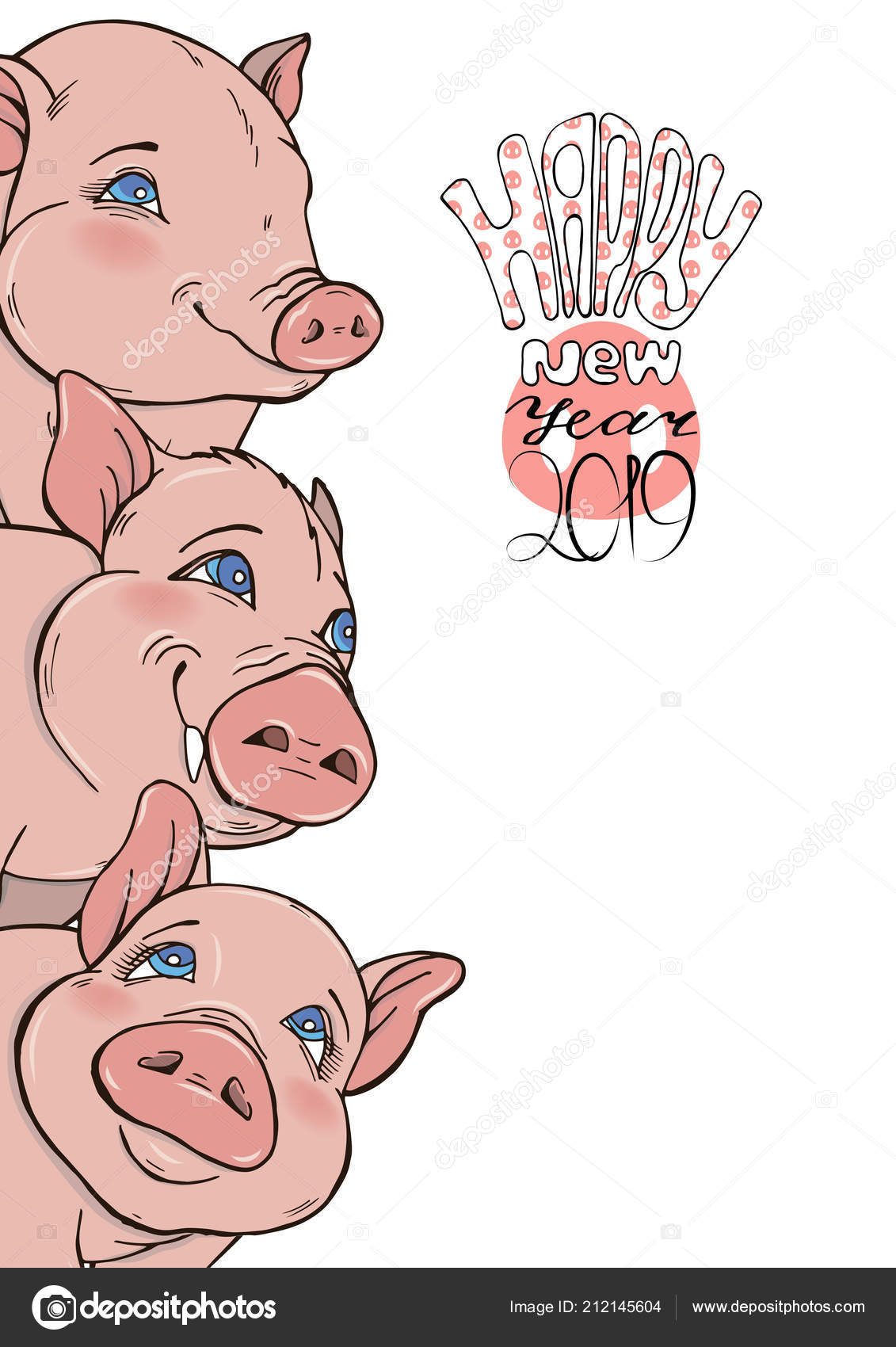 Background Funny Pigs Wish Happy New Year Template Greeting Cards ...