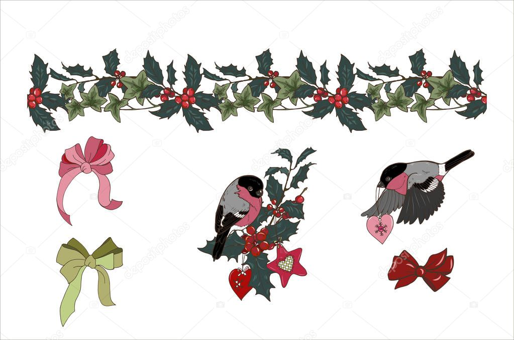 seamless Holly and ivy brush, composition of Christmas plants and Christmas tree toys, bullfinches, bows, isolated on white background, vector illustration