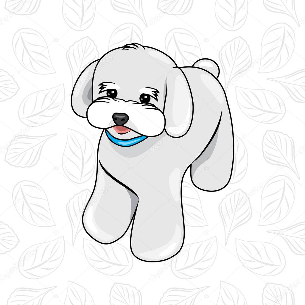 Cute White Puppy With A Blue Collar On A Leafy Background Premium Vector In Adobe Illustrator Ai Ai Format Encapsulated Postscript Eps Eps Format