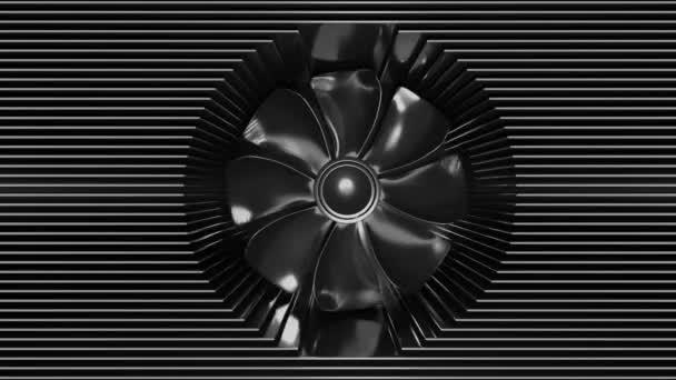 Egy ventilátor a radiátor lemezek között..