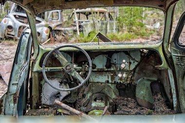 Old car scrap interior