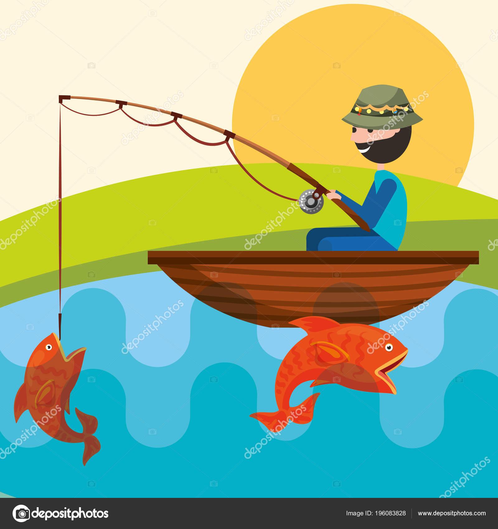 Rybarske Lidi Kreslene Stock Vektor C Yupiramos 196083828