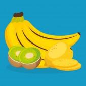 čerstvé banány a kiwi s guava ovoce zdravé jídlo