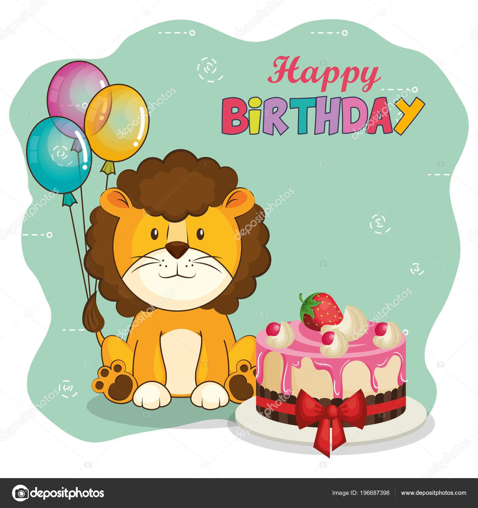 alles Gute zum Geburtstagskarte mit niedlichen Löwe — Stockvektor