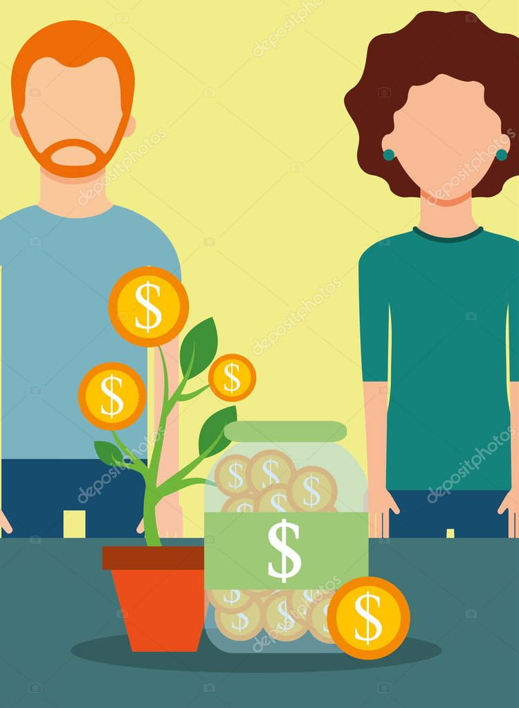 people business finance plant growth coins saving money vector illustration