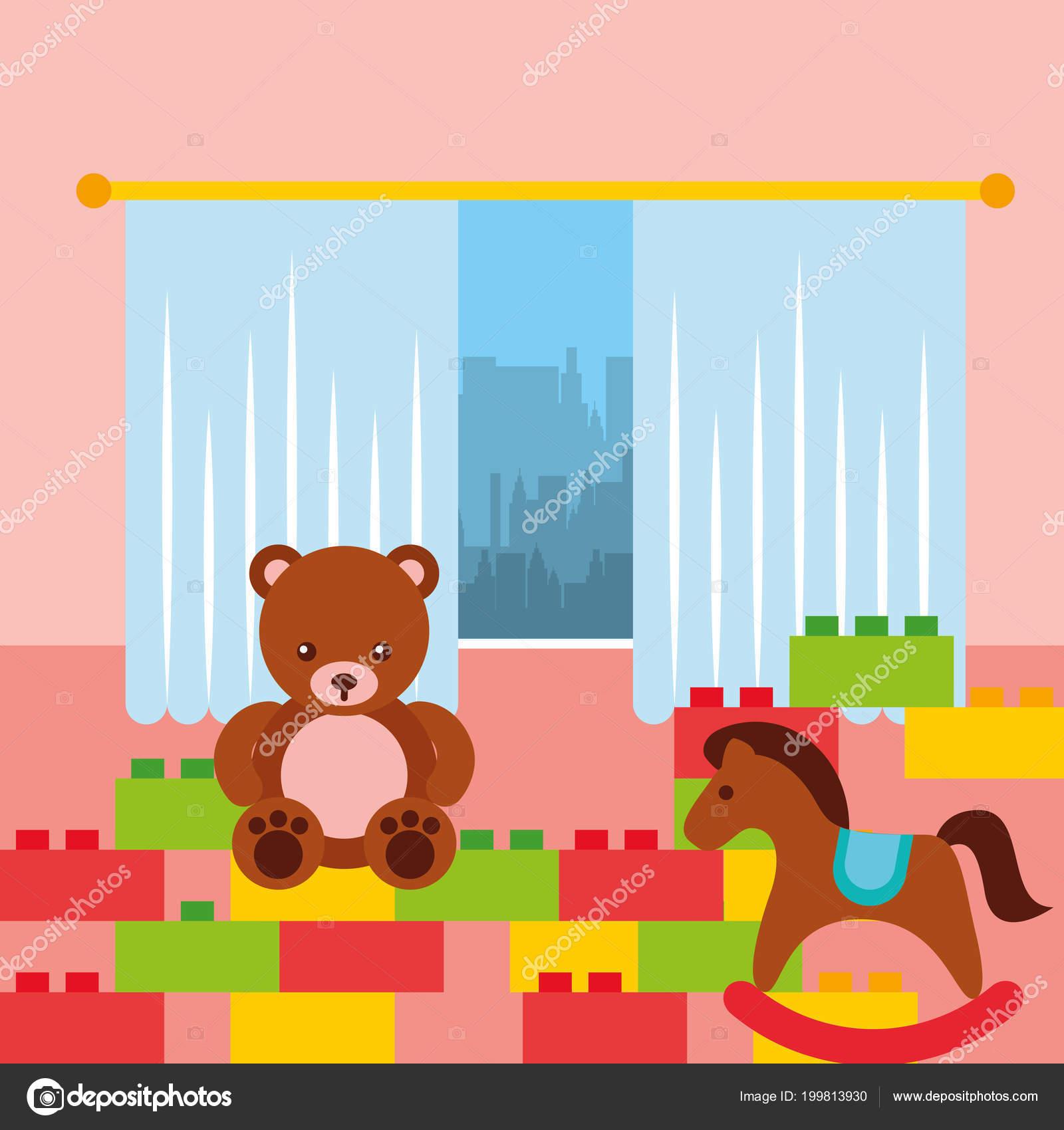 Classroom Kinder Bear Rocking Horse And Bricks Construction Toys Stock Vector C Yupiramos 199813930